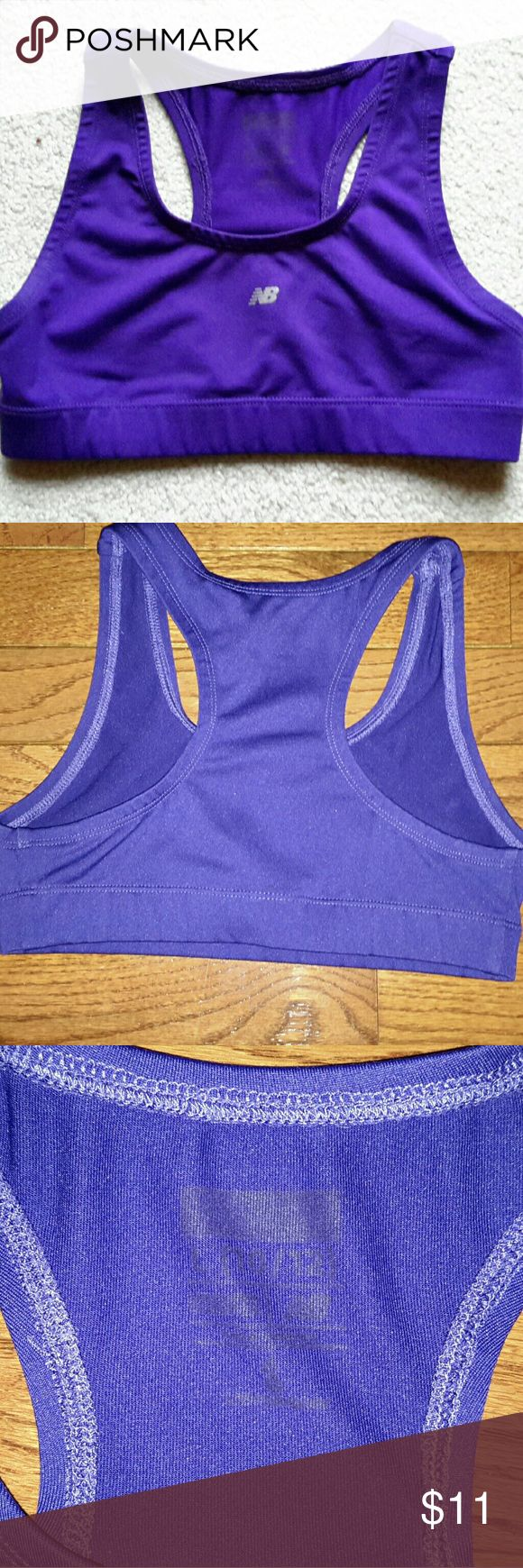 Girl's New Balance Sports Bra New Balance purple racer-back sports bra, 90% polyester and 10% spandex, girl's size large (10-12). Good condition. Smoke free home. New Balance Other