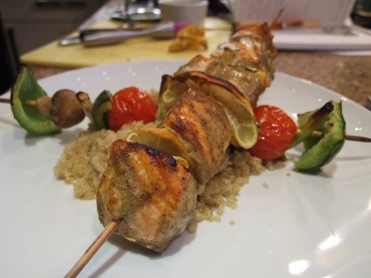 Moroccan spiced salmon skewers & vegetable kebabs with quinoa from ...