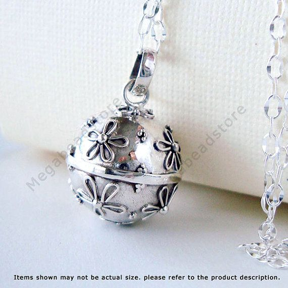 Daisy Pregnancy Necklace Mexican Bola Harmony Ball with 36 inches Chain 925 Sterling Silver P57LCH67 via Etsy