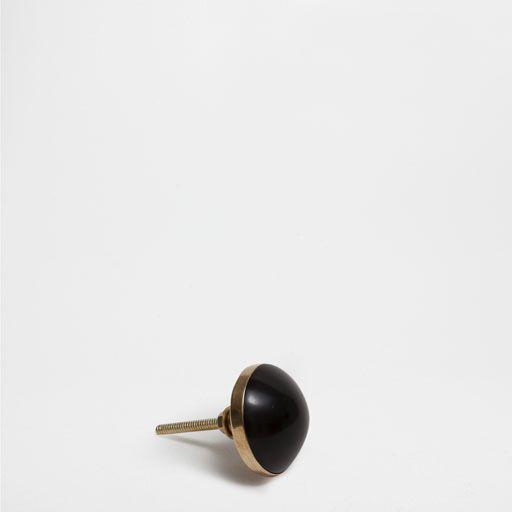 BLACK FLAT ROUND KNOB (SET OF 2)