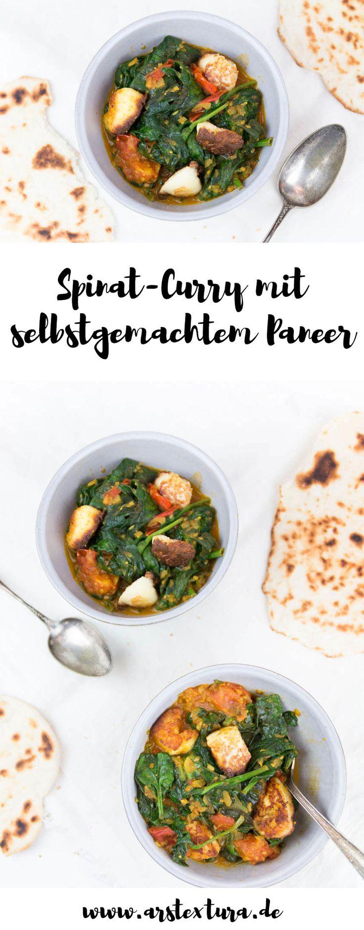 Spinat Curry mit selbstgemachtem Paneer - vegetarisches Gericht