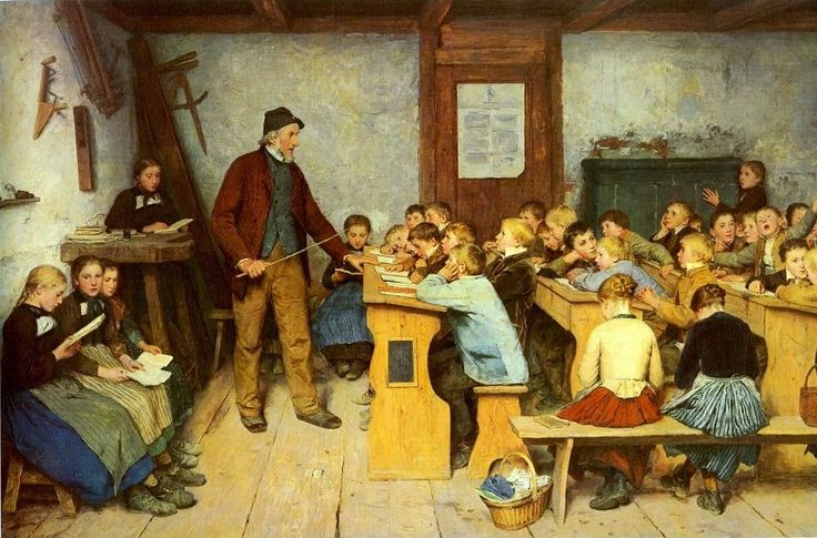 Albert Anker (1831-1910). Escuela rural. Basel  Kunstmuseum.