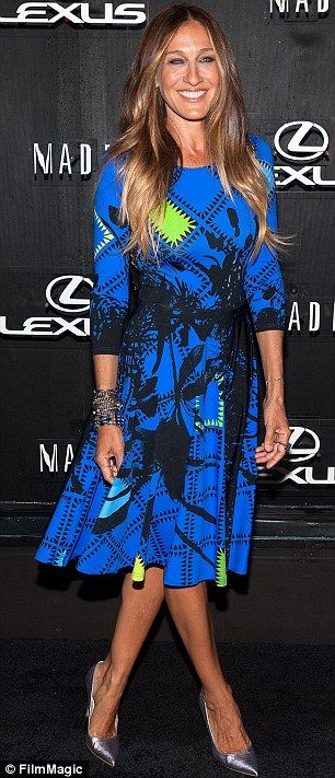 Sarah Jessica Parker cut a striking figure in a patterned dress at the Lexus Design Disrupted event for #NYFW http://dailym.ai/1vWVZ0S