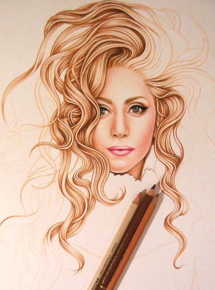 Lady Gaga Drawing WIP by DendaReloaded.deviantart.com on @deviantART