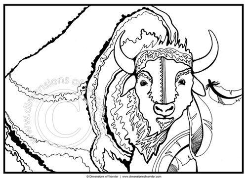 native american coloring pages printable buffalo tatanka dimensions of wonder