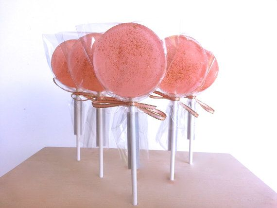 Coral Wedding Favors, Coral Lollipops, Coral Wedding, Pink Wedding, Shabby Chic, Coral and Gold -SIX LOLLIPOPS