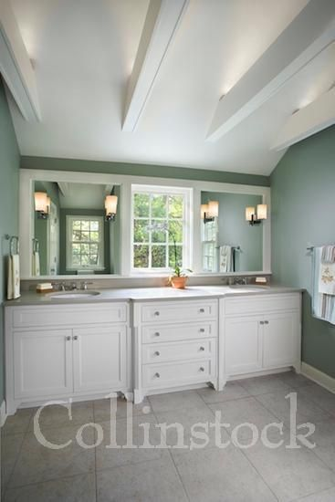 Beautiful Bathroom With Double Sink White Vanity With