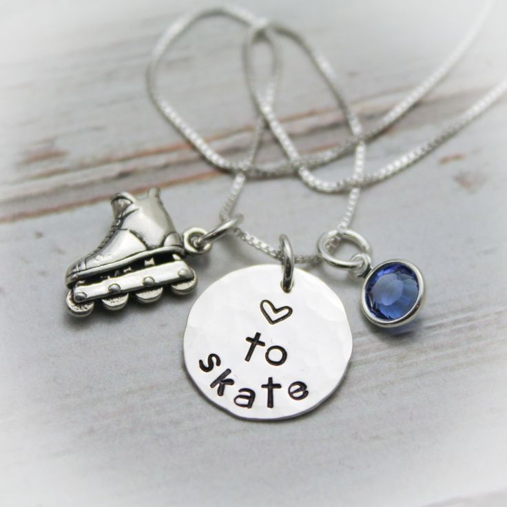 Inline Skating Sterling Silver Personalized Hand Stamped Necklace Inline Skater by TracyTayanDesigns on Etsy