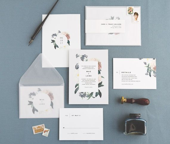 Faire-part de mariage de Mae & correspondance Invitation Floral Set / botanique / ensemble de l'échantillon