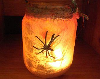 Luci/Halloween/dirtylook/mano-dipinto lanterna luce titolare/partito di tè fatto in casa con il pot di Spider/spider