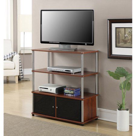 Designs 2 Go High Boy TV Stand in Black, for TVs up to 37 inch by Convenience Concepts, Red
