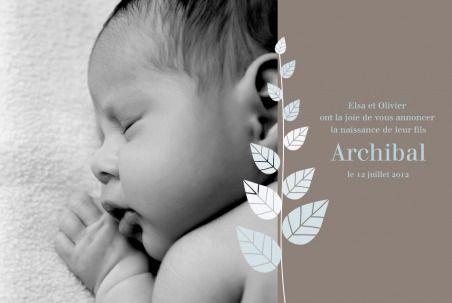 Faire part naissance (birth announcement) : Elégance recto verso - by Tomoë pour http://www.fairepartnaissance.fr #naissance #fairepart #birth