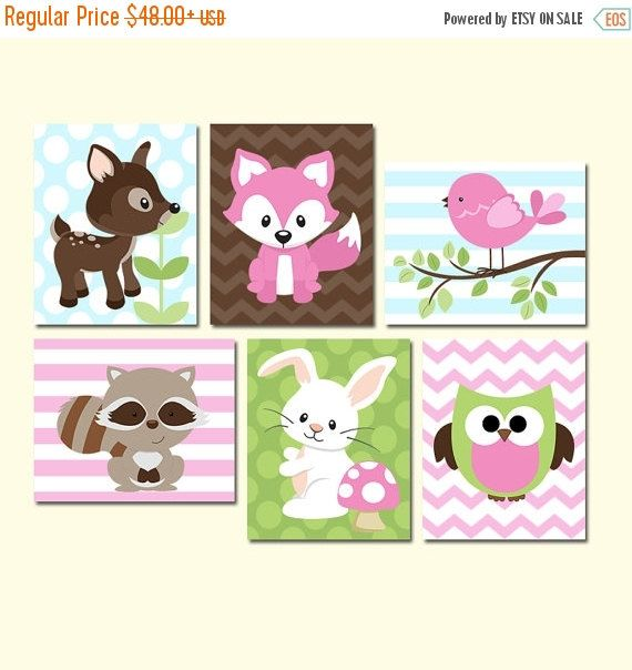 Girl WOODLAND Nursery Wall Art, Canvas or Prints Woodland Wood Forest Animal Girl Deer Raccoon FOX Owl Bird Bunny Bedroom Set of 6 Decor