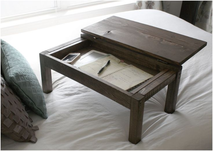 Top 10 Leisurely DIY Lap Desks - I have one of these downstairs. Modify by adding a bottom shelf and then add the top. Yusss.