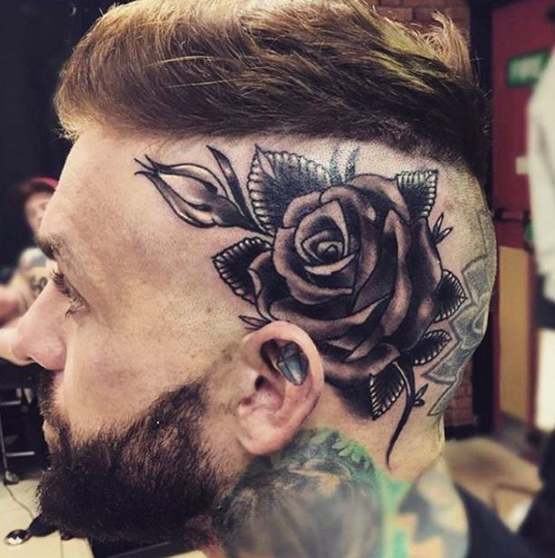 Aaron 39 s rose head tattoo by ken patten photo taken from for Tattoos on side of head