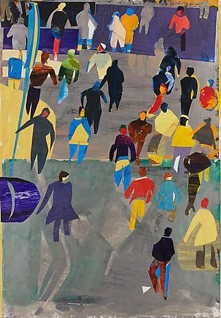 Vertical Crowd on Silver Ground by David Kapp; 2013; acrylic, gouache, watercolor, and ink on pasted paper; 44 x 30 1/2""