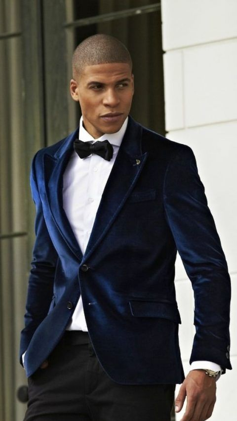 navy velvet dinner jacket, black pants and a bow tie #dapper #dinner #jacket #ideas #grooms