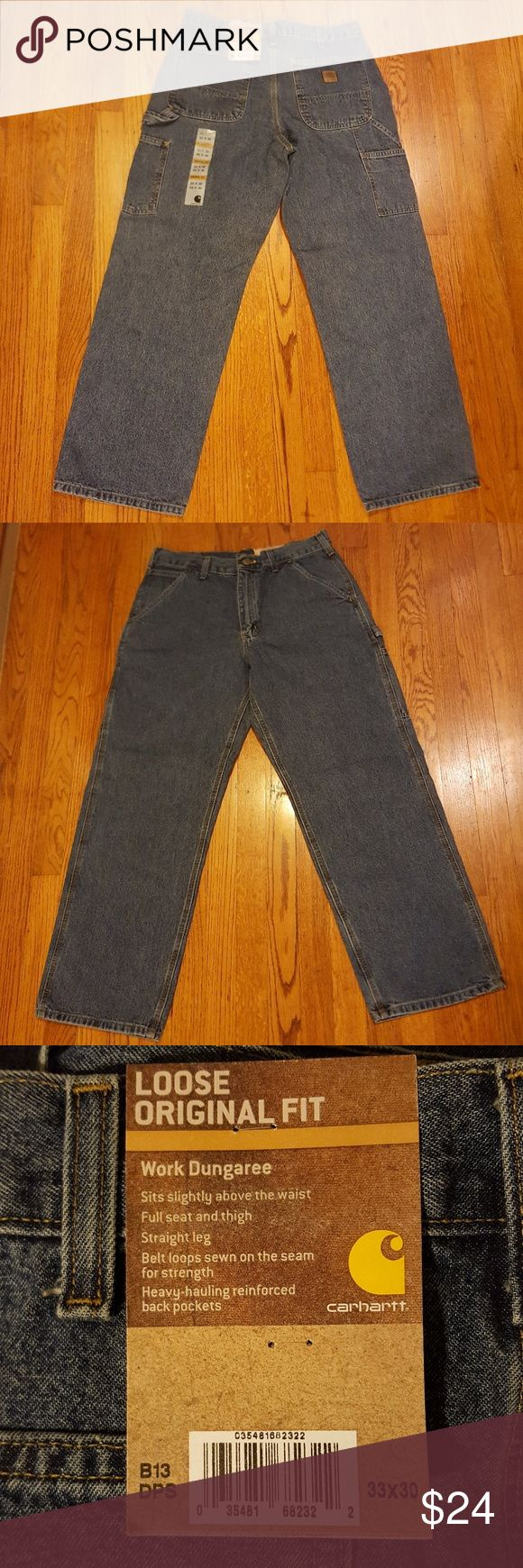 Carhartt Mens Jeans New. Size 33 × 30. Loose original dungaree fit. Straight leg. 100% cotton. These would make great work jeans. Carhartt Jeans