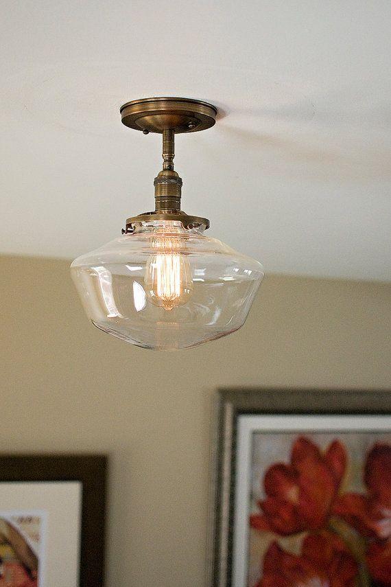 schoolhouse glass 10 clear shade flush mount light fixture welcome rh in pinterest com