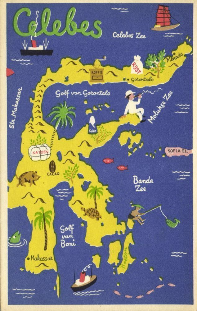 sulawesi illustrated map