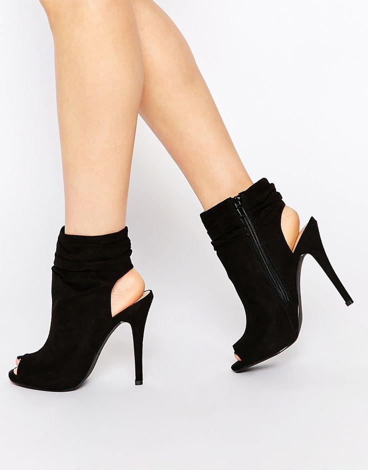 Call It Spring Talewen Black Peep Toe Heeled Shoe Boots