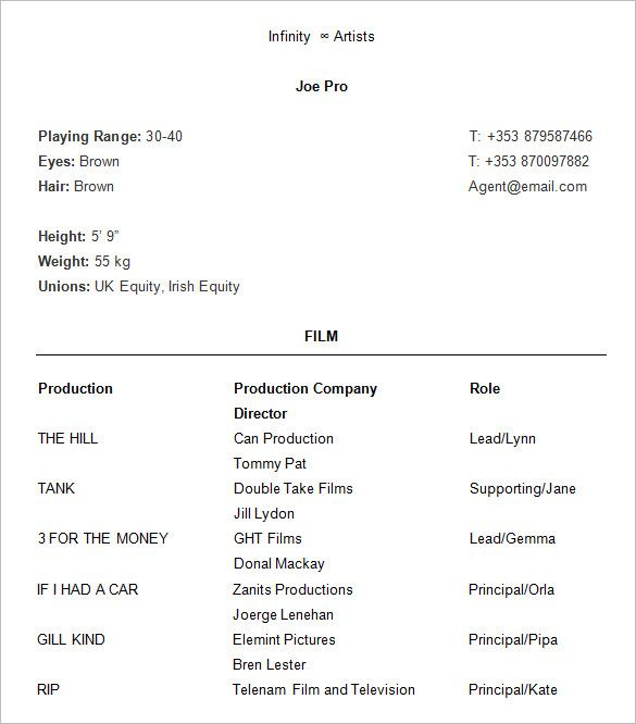 Proffesional Acting Resume , How to Create a Good Acting Resume Template , Acting resume template is usually used for people who want to give the detail information related their acting experience to attach in curriculum vita... Check more at http://templatedocs.net/how-to-create-a-good-acting-resume-template