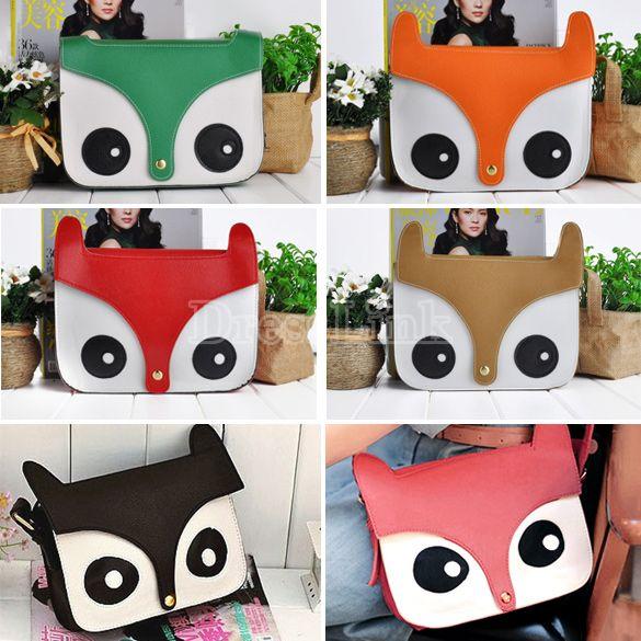Women Fashion PU Leather Cute Cartoon Fox Head Shoulder Bag