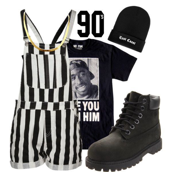 """""""90s"""" by rayray669 on Polyvore With black thigh highs. ❤️-lex"""
