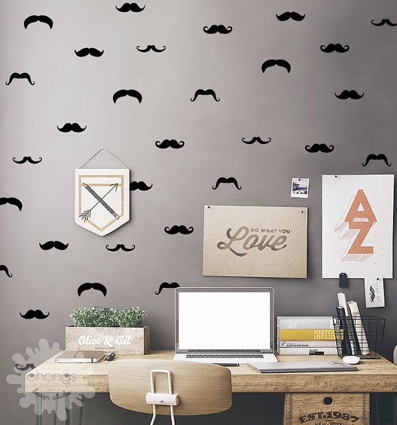 Mustache Wall Decal / 60 Mustache Set / by OhongsDesignStudio