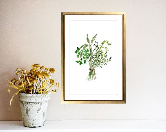 Herbs Bouquet print Kitchen art Botanical print by TheJoyofColor