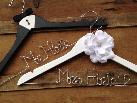 SALE GIFT SET Bride and Groom HangersTuxedo by DeighanDesign $60