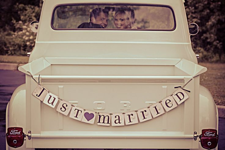 JUST MARRIED banner sign / custom colors / by CowCountryCreations