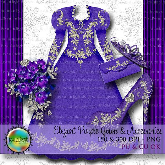 Elegant Purple Diamond Gown and Accessories  by Beauladigitals