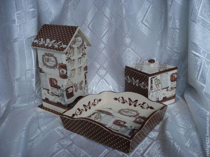 Купить набор для кухни Парижское кафе - набор для кухни, набор для кухни декупаж, чайный домик. Работы Елены Матиенко