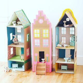 Casita de muñecas de 3 pisos hecha con cartón #jueguetes #housedoll #cardboard #toys