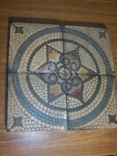 set 4 antique villeroy boch mettlach art deco geometric mosaic ceramic tiles 99 azulejo. Black Bedroom Furniture Sets. Home Design Ideas