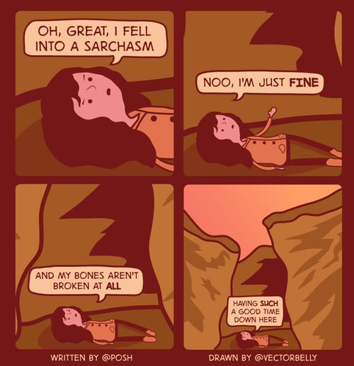 Oh, great, I fell into a sarchasm.