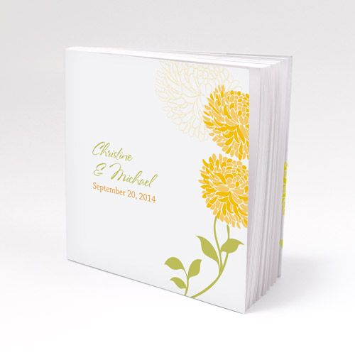 Notepad Favor with Personalized Zinnia Bloom Cover - Bridal Everything