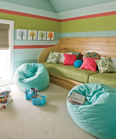 those benches, with linens stored beneath, would make great guest berths... click through: this post has great color inspiration and a wonderful floor.
