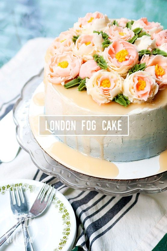 Salted Caramel London Fog Cake Recipe. This recipe starts with chocolate cake covered in Earl Grey Buttercream and drizzled with Coconut Salted Caramel. This cake is unbelievable! The flavors are so complex, but come together beautifully.