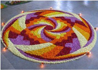 Zig Zag Flower Rangoli for Diwali