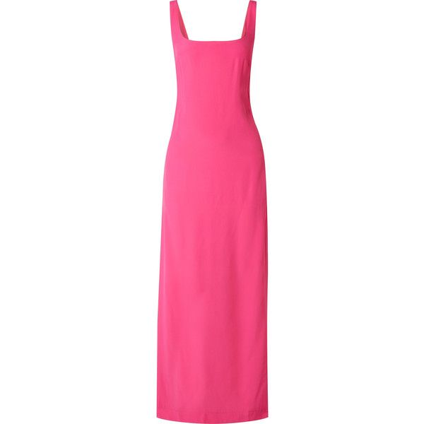 STAUD Rizzo cady maxi dress (7,330 MXN) ❤ liked on Polyvore featuring dresses, pink maxi dress, fuschia maxi dress, fuchsia maxi dress, fuschia dress and cut out back dress