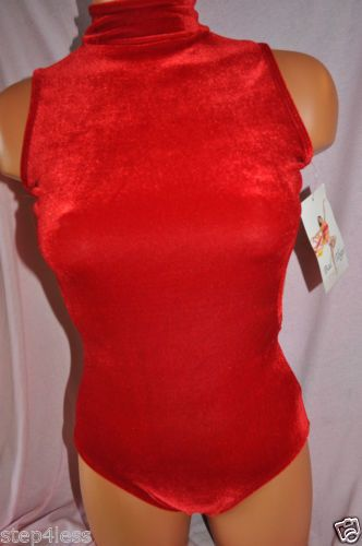 Nwt-Bal-togs-Adult-size-petite-XS-Red-Leotard-bodysuit-Velvet-velour-dance-87337
