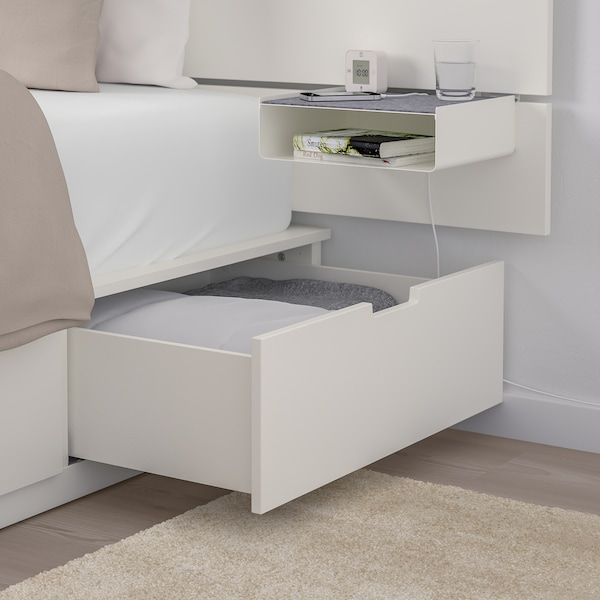 Nordli White Bed W Storage And Headboard 140x200 Cm Ikea In 2020 Headboards For Beds Ikea Nordli Bed Frame With Storage