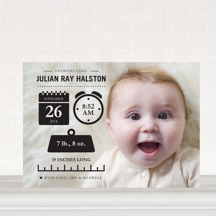 Baby Info: Black - Boy Photo Birth Announcements in Black | Magnolia Press
