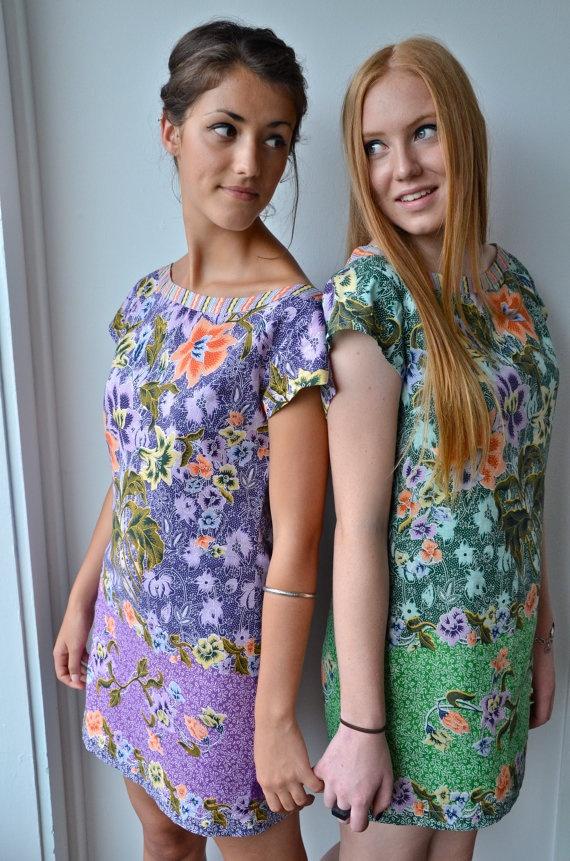 Batik green mini dress BanjoDesigns on etsy