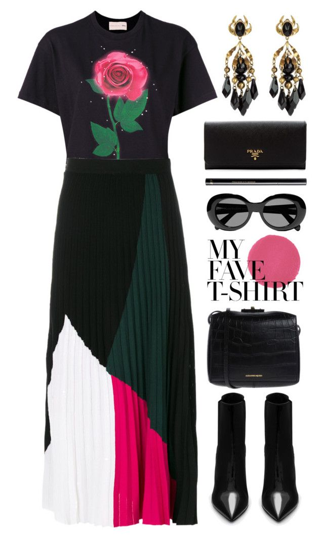 """""""dressed"""" by foundlostme ❤ liked on Polyvore featuring Christopher Kane, Proenza Schouler, Yves Saint Laurent, Christian Louboutin, Alexander McQueen, Acne Studios, H&M, Prada, Gucci and MyFaveTshirt"""