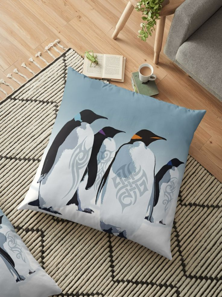 Gangs of Antarctica Floor Pillow by emilypigou #gifts #family #online #shopping #baby #kids #home #homegifts #homedecor #art #design #39 #redbubble @bedroom #livingroom #moderhome #penguinlovers #lovepenguins #floorpillow #kidsroom #penguins #antarctica #penguin #giftsforhim #giftsforher  #style #badass #tattoo #animals #funny • Also buy this artwork on home decor, apparel, stickers, and more.