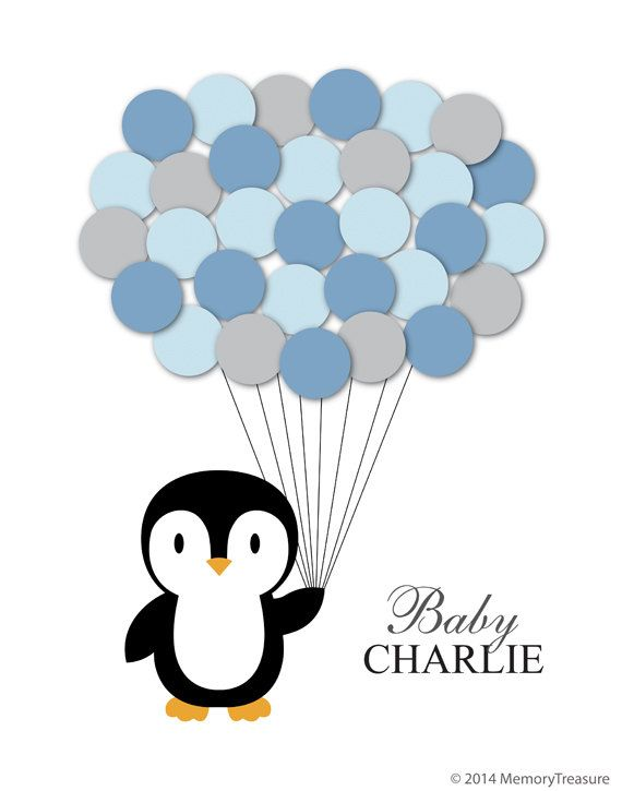Penguin Baby Shower Guest Book Alternative Children Kid Birthday Balloons Poster Print Guest Sign Personalized Unique Creative Fun Original