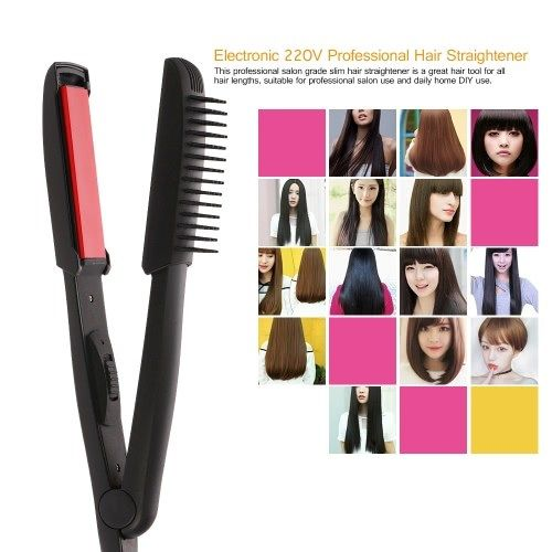 220V Professional Hair Straightener with Comb 35W Electronic Hairstyling Portable Ceramic Flat Heating Up 210�� Straightening Styling Tools EU Plug